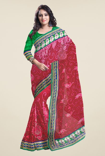 Triveni Red Embroidered Net Saree