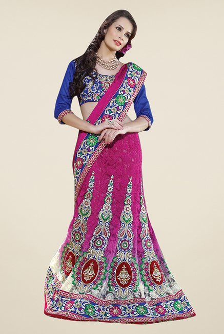 Triveni Pink Embroidered Jacquard Saree