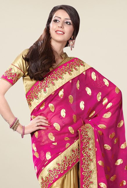 Triveni Gold & Magenta Embroidered Faux Georgette Saree
