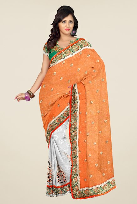 Triveni Orange & Grey Embroidered Viscose Saree
