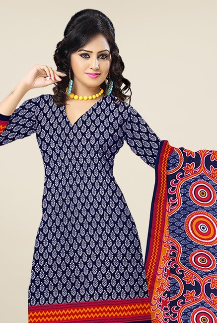 Triveni Navy Printed Dress Material