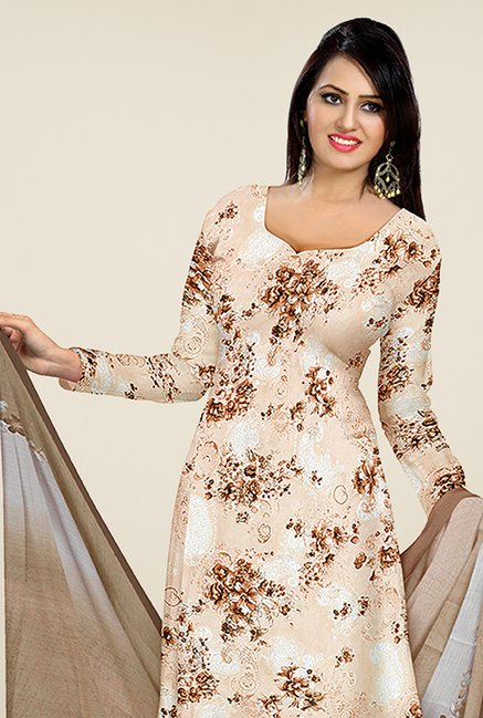 Triveni Beige & Brown Floral Print Dress Material
