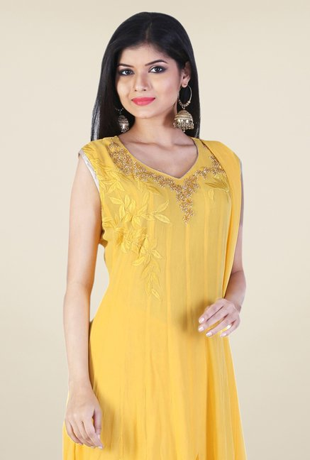 Triveni Yellow Embroidered Dress Material