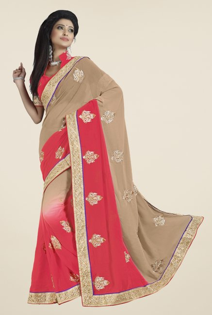 Triveni Pink & Beige Embroidered Chiffon Saree