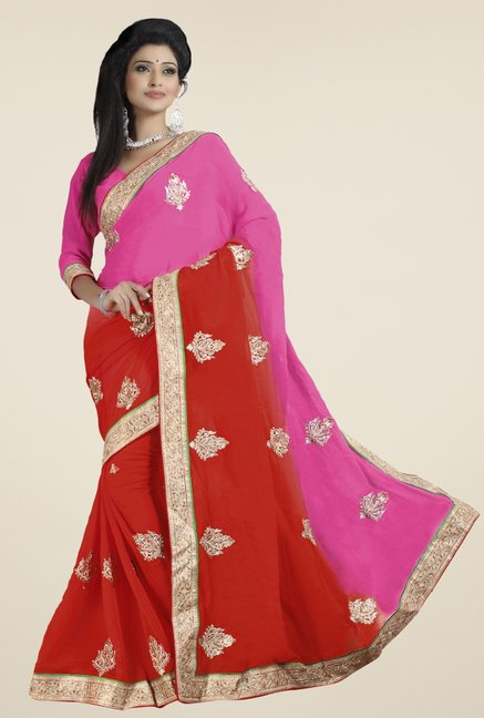 Triveni Red & Pink Embroidered Chiffon Saree