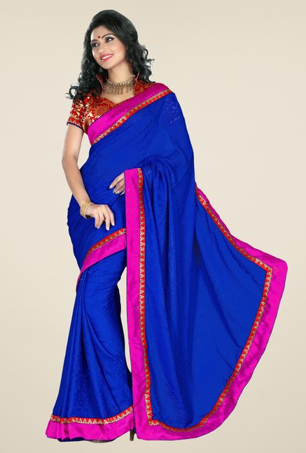 Triveni Dark Blue Printed Faux Georgette Saree