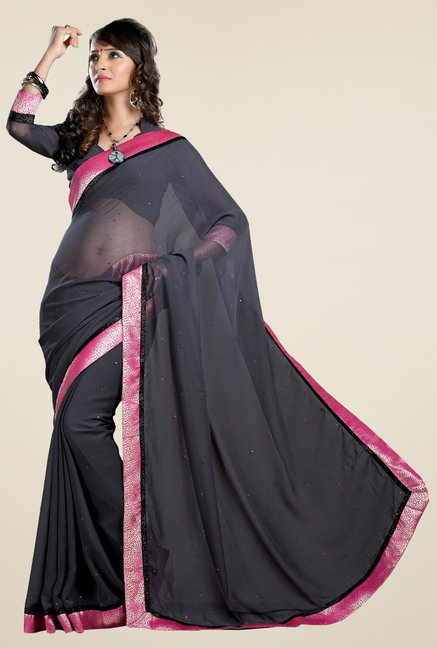 Triveni Grey Solid Chiffon Saree