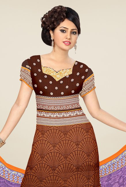 Triveni Brown & Orange Printed Dress Material