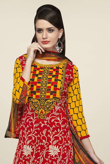 Triveni Red & Mustard Printed Dress Material