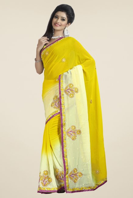 Triveni Yellow & Beige Embroidered Faux Georgette Saree