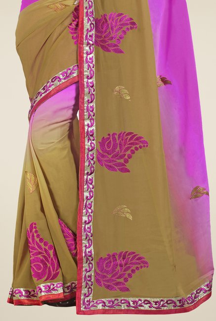 Triveni Pink & Beige Embroidered Faux Georgette Saree