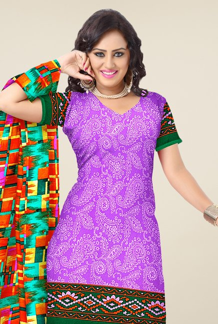 Triveni Purple & Orange Paisley Print Dress Material