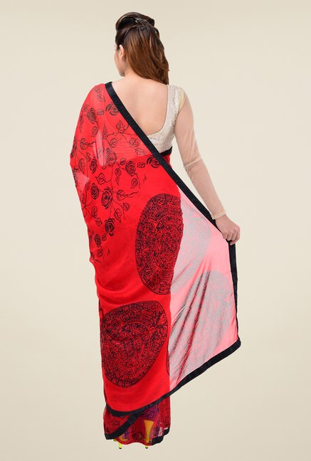 Triveni Red Floral Print Faux Georgette Saree