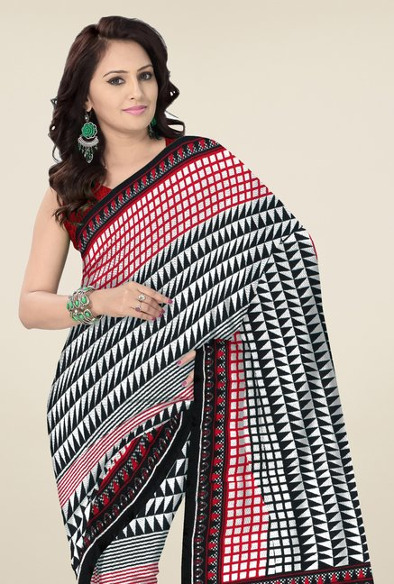 Triveni Off White & Black Geometric Print Saree