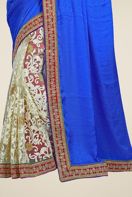 Triveni Beige & Blue Embroidered Crepe Jacquard Saree