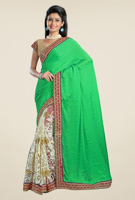 Triveni Off White & Green Embroidered Net Saree