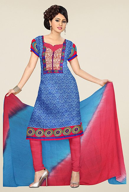 Triveni Blue & Red Printed Dress Material