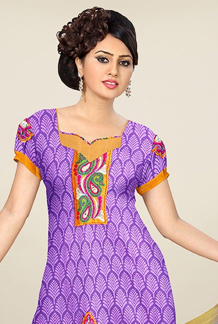 Triveni Purple & Mustard Printed Dress Material