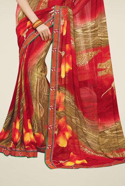 Triveni Beige & Red Printed Faux Georgette Saree