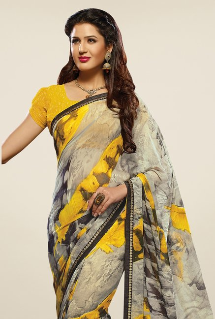 Triveni Grey & Yellow Printed Faux Georgette Saree