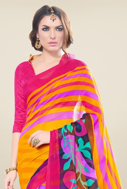 Triveni Multicolor Printed Supernet Saree