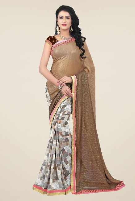 Triveni Grey & Brown Printed Faux Georgette & Shimmer Saree