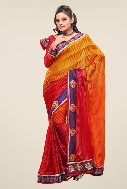 Triveni Multicolor Striped Satin Saree
