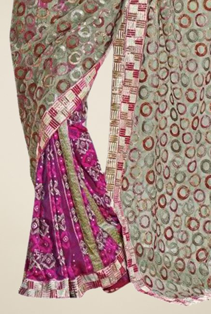 Triveni Purple & Grey Printed Faux Georgette Saree