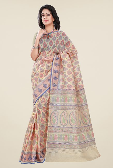 Triveni Beige Printed Cotton Saree