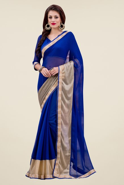 Triveni Blue Solid Chiffon & Faux Georgette Saree