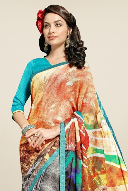 Triveni Grey & Orange Printed Satin & Chiffon Saree