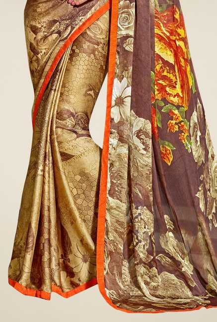 Triveni Beige & Brown Printed Satin & Chiffon Saree