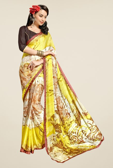 Triveni Beige & Yellow Printed Satin & Chiffon Saree
