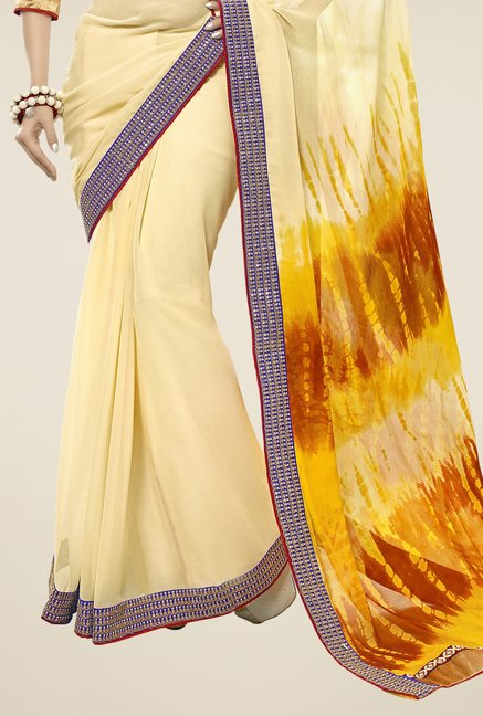 Triveni Cream Printed Chiffon Saree