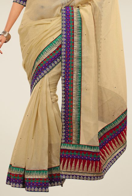 Triveni Beige Embroidered Cotton & Silk Saree
