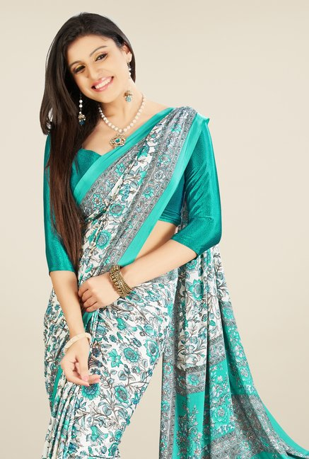 Triveni Sea Green Printed Crepe & Silk Saree