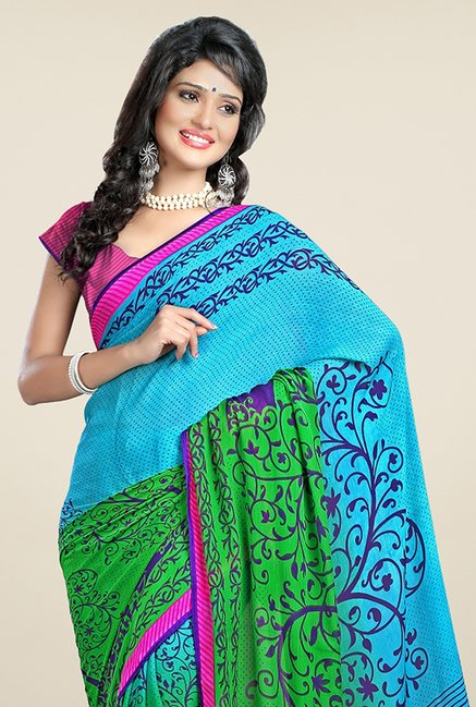 Triveni Blue & Green Printed Chiffon Saree