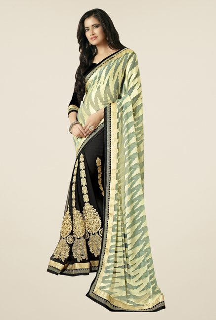 Triveni Black & Beige Embroidered Brasso & Chiffon Saree