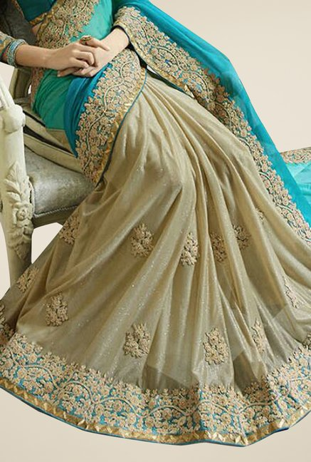 Triveni Beige & Turquoise Embroidered Faux Georgette Saree