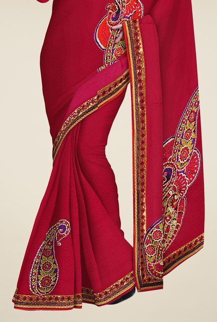 Triveni Red Embroidered Jacquard & Crepe Saree