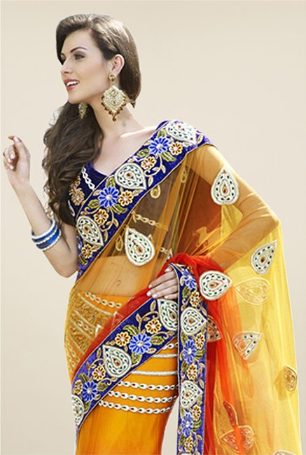 Triveni Multicolor Embroidered Net Saree