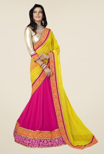 Triveni Pink & Yellow Embroidered Faux Georgette Saree