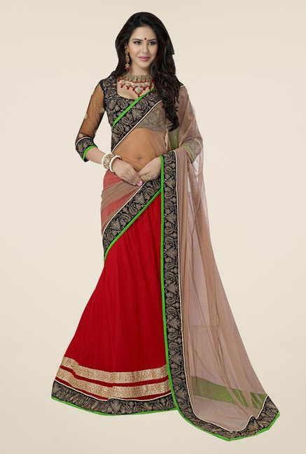 Triveni Red & Beige Embroidered Net Saree