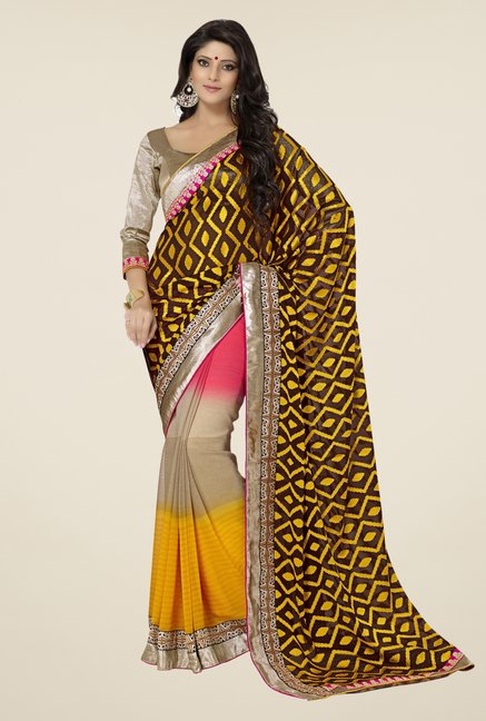 Triveni Multicolor Printed Brasso Saree