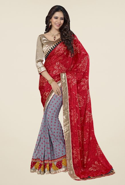 Triveni Grey & Red Printed Brasso Saree