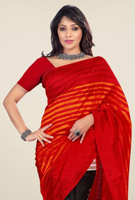 Triveni Black & Red Printed Art Silk Saree