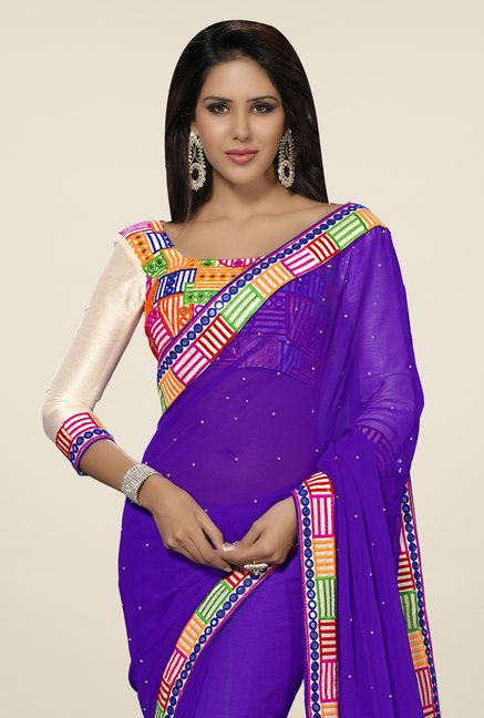 Triveni Purple Embroidered Chiffon Saree