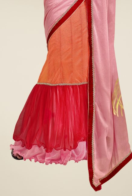 Triveni Orange & Red Solid Lycra Lehenga Saree