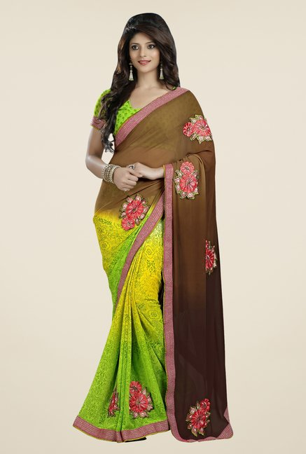 Triveni Yellow & Brown Printed Faux Georgette Saree