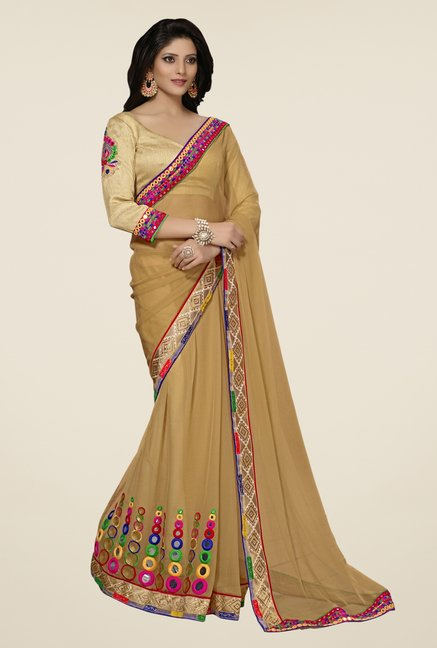 Triveni Brown Embroidered Chiffon Saree